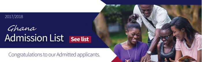 20172018 ADMISSION LISTS FOR UNIVERSITIES IN GHANA